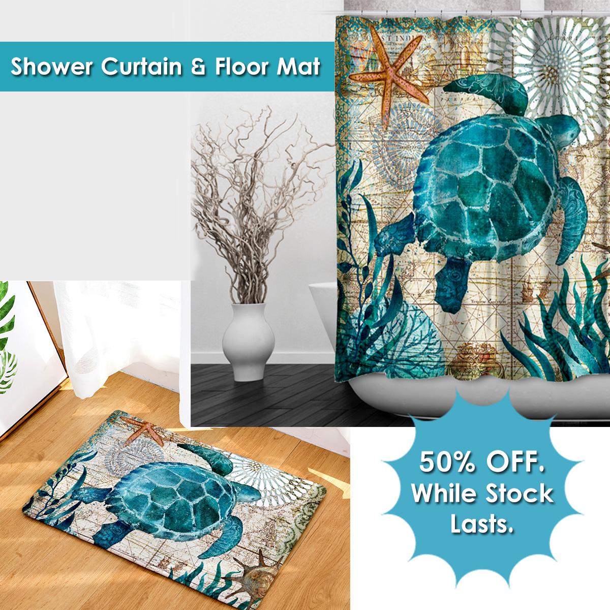 Sea Turtle Bathroom Bundle Shower Curtain And Floor Mat Daretak